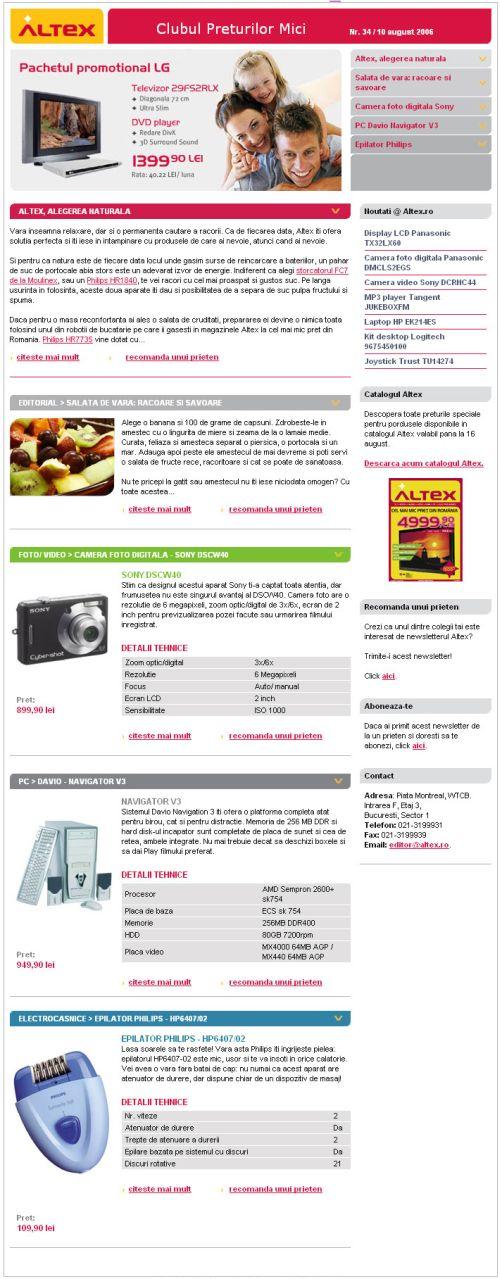 White Image relanseaza newsletterul Altex, sub Clubul Preturilor Mici