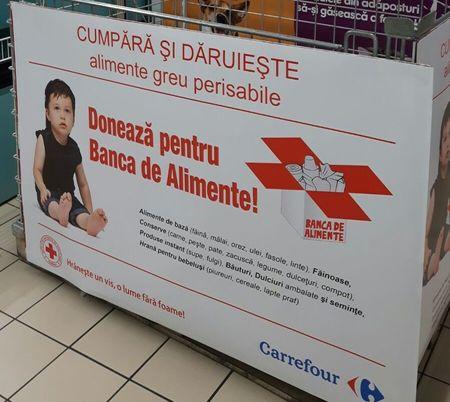 Carrefour dubleaza, cu Billa, la 63 magazinele in campania Banca de Alimente, alaturi de Crucea Rosie