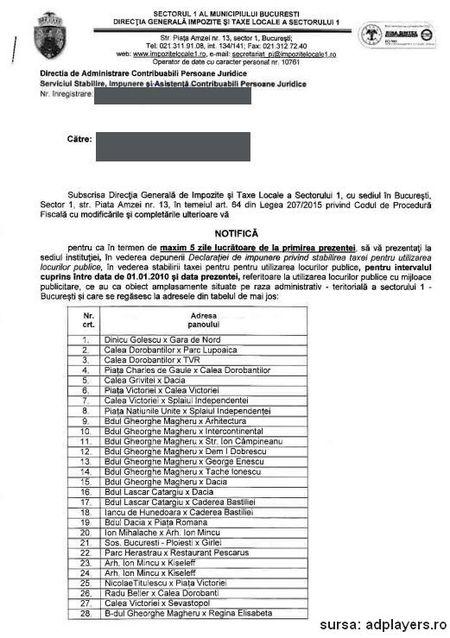 Exclusiv adplayers: Detinatorii de panouri publicitare din Bucuresti au 5 zile sa declare taxele si autorizarile