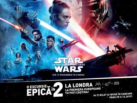 Concurs pentru Jedi. Premiul, o excursie la premiera Star Wars: The Rise of Skywalker de la Londra