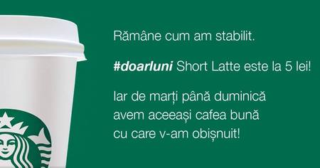 Starbucks, in campanie #doarluni.