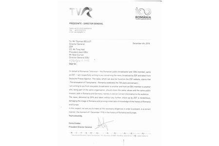 TVR solicita ZDF sa prezinte corect stirea despre Marea Unire a romanilor de la 1918