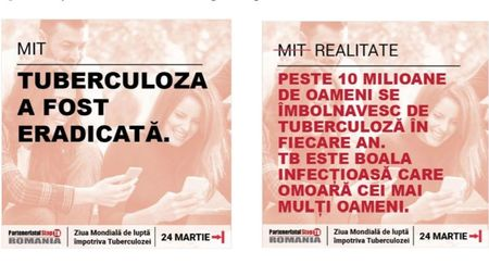 Flash mob si iluminare rosie a statuilor din Bucuresti in campania ''Uniti impotriva tuberculozei''