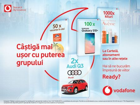 Vodafone continua sa rasplateasca utilizatorii, indiferent de reteaua mobila, cu inca doua Audi Q3, telefoane Samsung si alte milioane de premii
